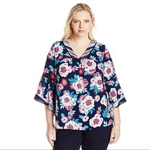 NY Collection 3/4 Angel Sleeve Women's Plus Top